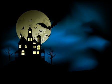 Spooky house with an eerie night sky and bats Vector