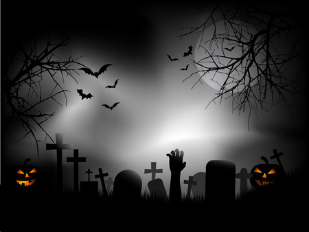 Spooky cementerio zombie con mano saliendo de la tierra