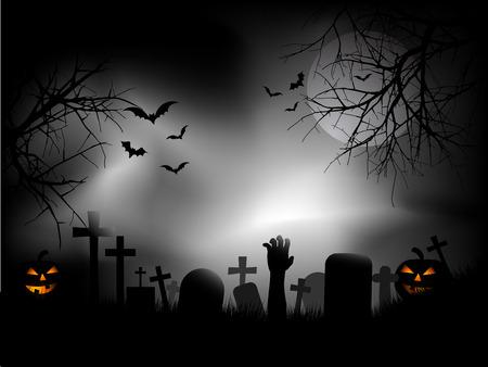 Spooky kerkhof met zombie hand komende uit de grond