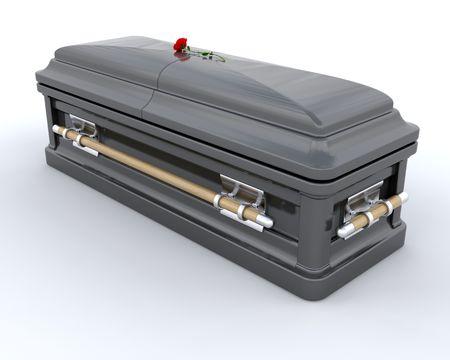 casket: 3D render of an ornate coffin