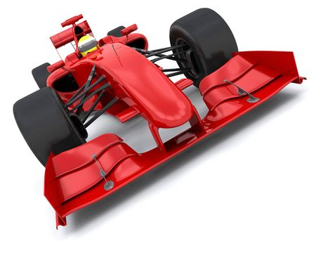 one to one: 3d render of a formula one racing car