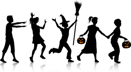 Silhouettes of children playing on Halloween night Vector