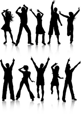 young people group: Sagome di persone danzanti Vettoriali