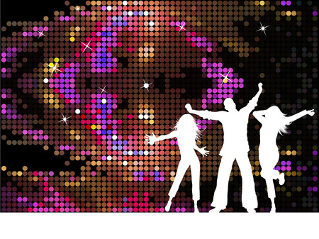 adolescent: Silhouettes of people dancing on disco background