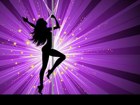 silueta bailarina: Silueta de un polo femenino sexy baile