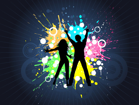 youngsters: Silhouettes of people dancing on grunge background