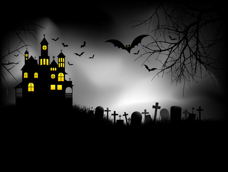 haunted house: Haunted house on Halloween night