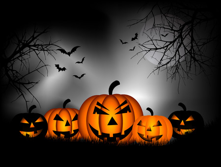Spooky Halloween background with pumpkins and bats Vector