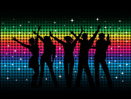 Silhouettes of people dancing on disco background