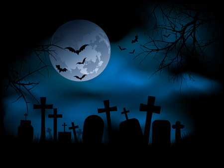 tombstones: Spooky graveyard at night