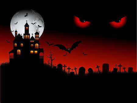 b�se augen: Spooky Halloween Szene mit b�sen Augen Illustration