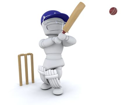 bowl game: 3d render of a man playing cricket