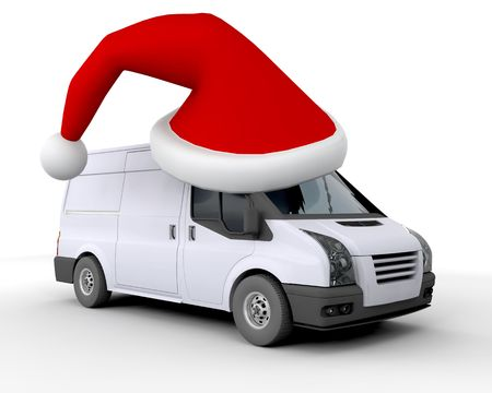 cargo van: 3D Render of a Christmas Delivery Van Isolated on White