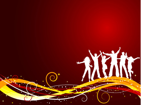 Silhouettes of people dancing on Christmas background Vector