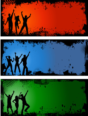 youngsters: Silhouettes of people dancing on grunge style backgrounds Illustration