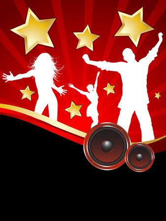 Party background with silhouettes of people dancing Vector