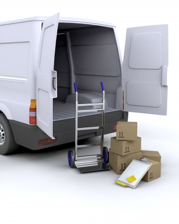 delivery van: 3D render of delivery boxes and clipboard next to a van Stock Photo