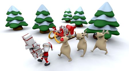 st nick: 3d render of santa claus and gifts