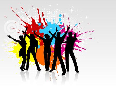 silueta masculina: Siluetas de personas bailando sobre un fondo grunge