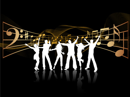 teenage couple: Silhouettes of people dancing on music background