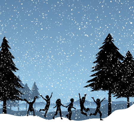 snow tree: Silhouettes of children playing in the snow Illustration