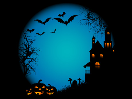 Spooky landscape scene on Halloween night Vector