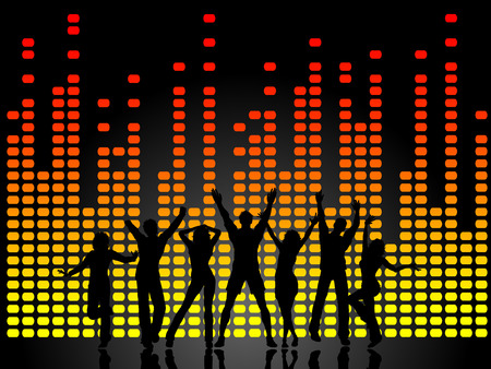 equaliser: Silhouettes of people dancing on graphic equaliser background