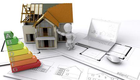 evaluacion: Casa de estilo contempor�neo en construcci�n  Foto de archivo