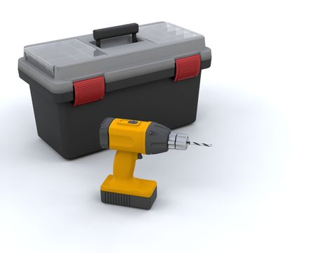 rennovation: 3D render of a power drill and a tool box