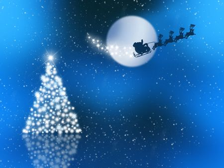 noche estrellada: Santa claus en el cielo de la noche estrellada  Foto de archivo