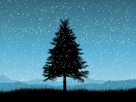 snowy hill: Silhouette of a fir tree on a snowy night Illustration