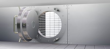 3D Render of Bank Vault and Safety Deposit Boxes photo