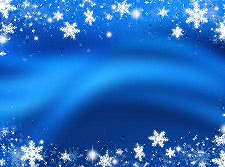 Fondo abstracto de copos de nieve y estrellas