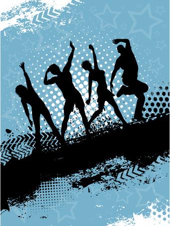 group of objects: Schaduwen van mensen op grunge achtergrond dancing