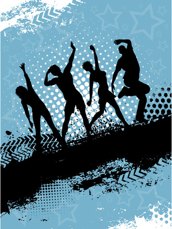 Siluetas de personas bailando sobre fondo de grunge