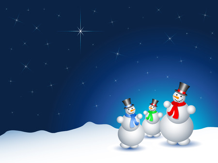 starry sky: Snowmen on a snowy night with a starry sky
