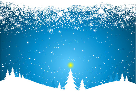 Winter scene with snowy border Vector