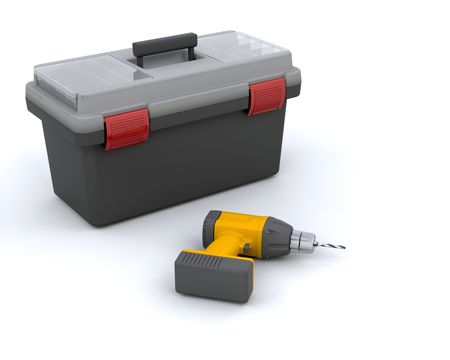 rennovation: 3D render of a power drill and toolbox