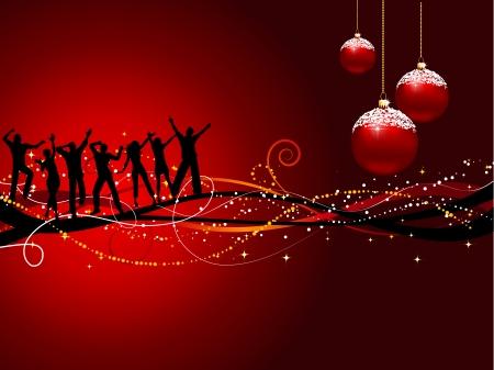 Silhouetten von Menschen tanzen auf Weihnachten Hintergrund  Illustration