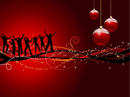 group of christmas baubles: Silhouettes of people dancing on a Christmas background