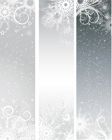 themed: Winter themed banners with snowflakes and stars Illustration