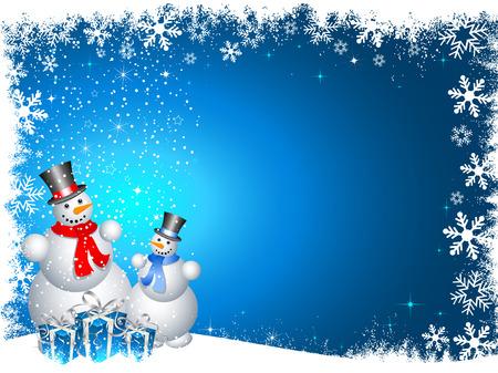 bonhomme de neige: Snowmen avec des cadeaux de No�l  Illustration