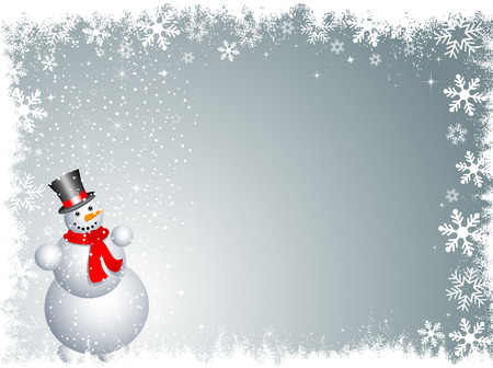 snowy background: Mu�eco de nieve sobre un fondo cubierto de nieve