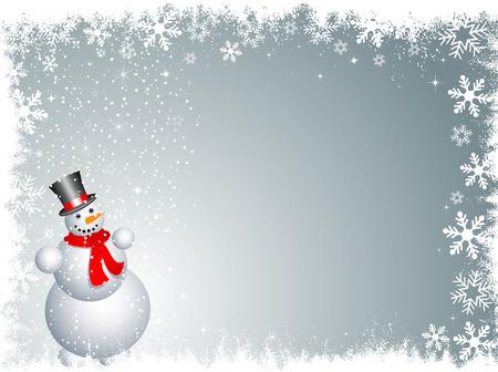 Snowman on a snowy background Stock Vector - 6018536