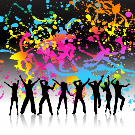 youngsters: Silhouettes of people dancing on a grunge splatter background