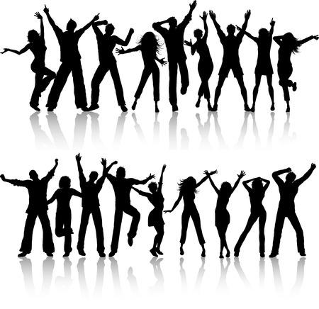 Siluetas de personas bailando sobre fondo blanco