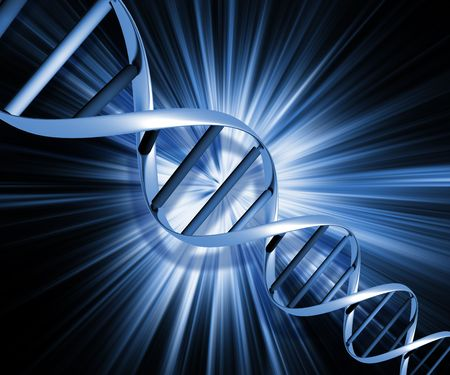 DNA strands on abstract background photo