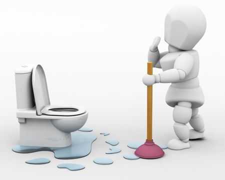 3D render of a plumber fixing a leak photo