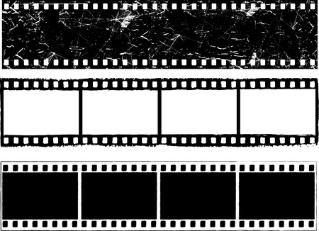 films: Various designs of grunge styled film strips