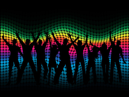 Silhouettes of people dancing on a spectrum coloured background